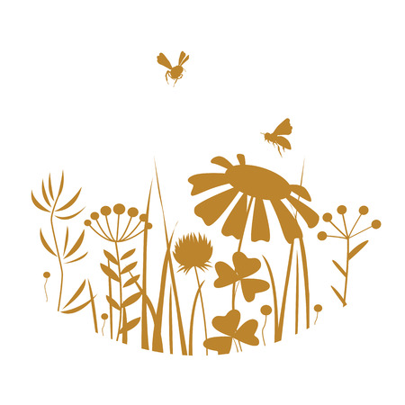 Vintage honey card with bees and flowers silhouettes. Vector illustration