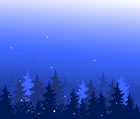 Abstract background with trees. Forest wilderness and magic winter landscape. Template for your design works. Hand drawn vector illustration.