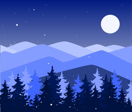 Abstract background with mountains and trees. Forest wilderness and magic winter landscape. Template for your design works. Hand drawn vector illustration.