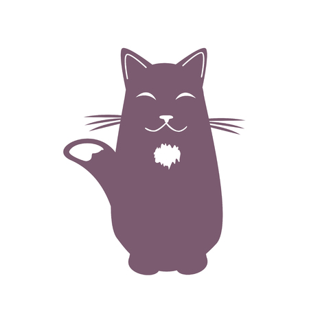 Cartoon dreaming cat . Funny cool character. Isolated vector illustration.