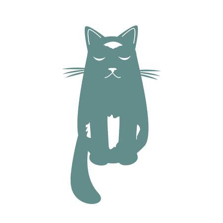 Cartoon dreaming cat . Funny cool character. Isolated vector illustration. Archivio Fotografico - 127509374