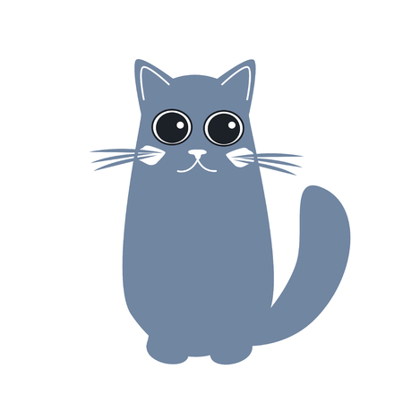 Cute cat in flat style. Simple cartoon cat icon on a black background. Vector isolated Illustration.