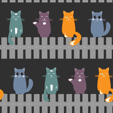 Cute seamless pattern background with cats seating on the fence. Dark background. Vector illustration