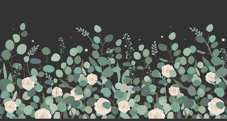 Elegant seamless border from roses and eucalyptus branches. Floral garland on dark background. Vector illustration.