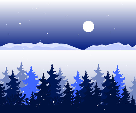 Winter panoramic landscape with trees, valley and mountains hills in distance. Vector illustration