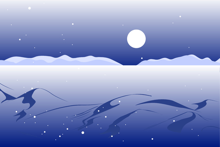 Vector illustration: Night winter scene with valley and mountains landscape in distance. Christmas background.