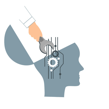 NLP or Neuro-Linguistic Programming concept. Open Human Head and a Hand with a Wrench. Manipulation, Mental health, personal development, and psychotherapy icon. Vector illustration.