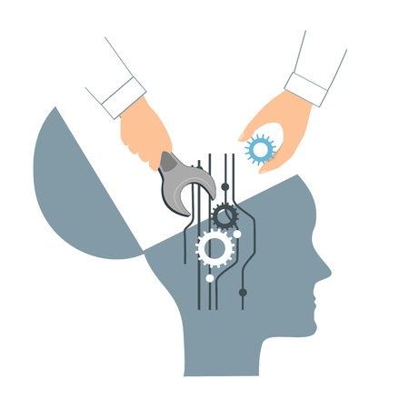 NLP or Neuro-Linguistic Programming concept. Open Human Head and a Hand with a Wrench replacing a gear. Manipulation, Mental health, personal development, and psychotherapy icon. Vector illustration. Stock Illustratie
