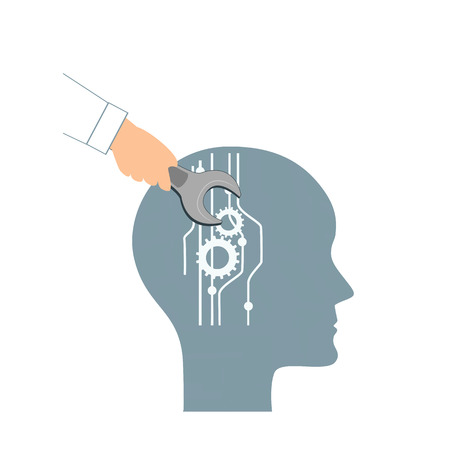 NLP or Neuro-Linguistic Programming concept. Open Human Head and a Hand with a Wrench. Manipulation, Mental health, personal development, and psychotherapy icon. Stock Photo
