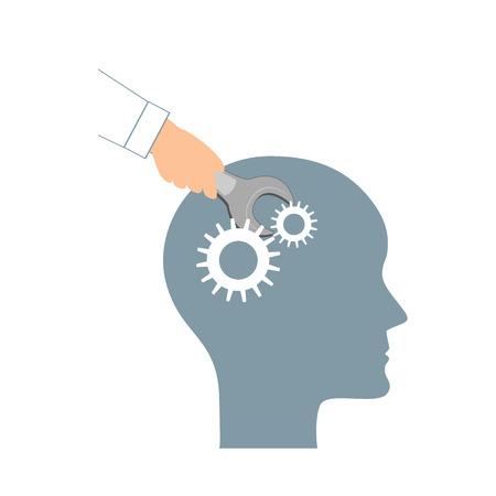 Concetto di PNL o Programmazione Neuro-Linguistica. Testa umana aperta e una mano con una chiave inglese. Icona di manipolazione, salute mentale, sviluppo personale e psicoterapia. Illustrazione vettoriale. Vettoriali