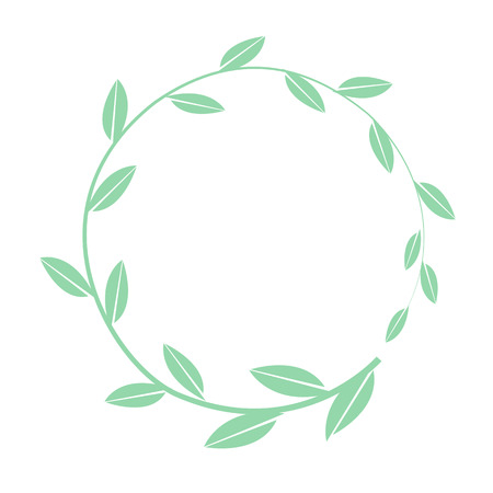 Hand drawn vector round frame. Floral wreath with simple leaves banch. Decorative elements for design. Vector ring illustration Stock Illustratie