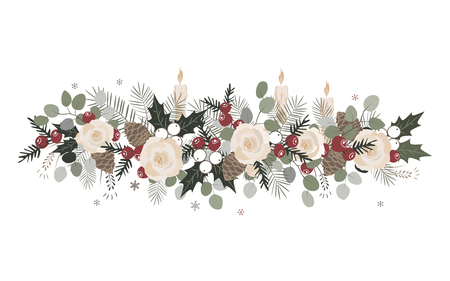 Vector Christmas border with fir branches, beriies, roses, ilex and cones. Decorative frame design element Stock Illustratie