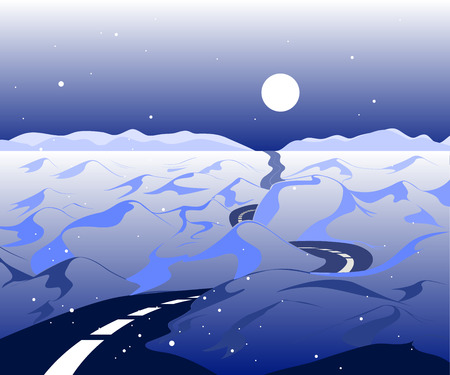 Vector winter Background with road and snowy valley. The arctic landscape with mountains in the horizon with the beautiful blue sky.