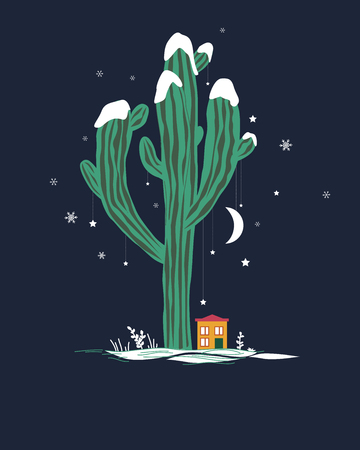 Cute cartoon illustration with high saguaro cactus and liitle house. Mexican fairy winter landscape, Christmas card. Vector illustration