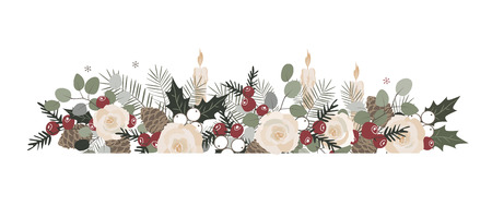 Vector Christmas border with fir branches, beriies, roses, ilex and cones. Decorative frame design element Archivio Fotografico - 127223735