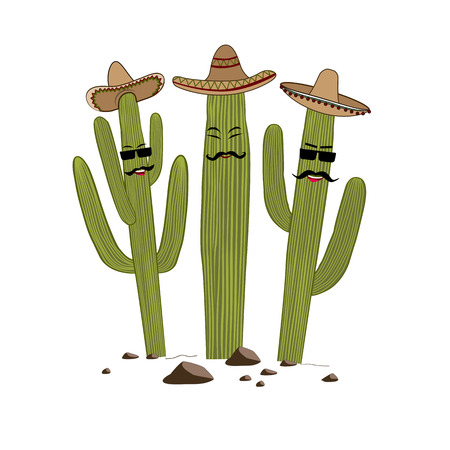 Three cute cartoon Saguaro cactus in sombrero and glasses. Friends forever concept. Vector illustration