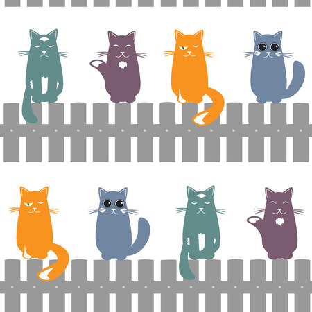 Cute seamless pattern background with cats seating on the fence. White background. Vector illustration