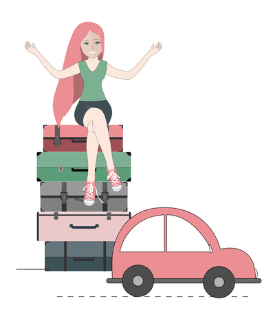 Happy traveler woman sitting on suitcases and the car ready to go. Vector illustration