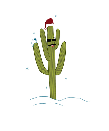 Christmas tree in tropical climate concept. Saguaro Cactus Guy in glasses and Santa Hat. Snow and cacti. Vector illustration Stock Illustratie