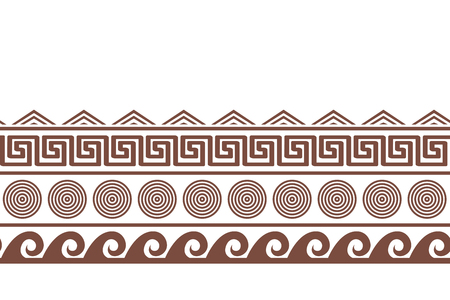 Old greek seamlesshorizontal border design. Water, sun, and meander endless pattern. Vector illustration Stock Illustratie