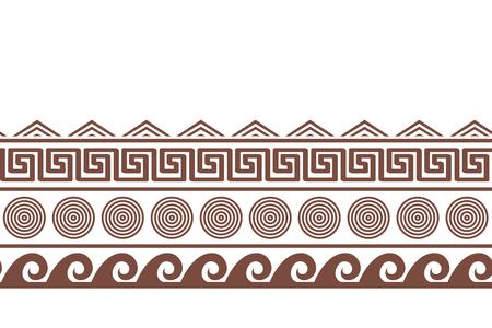 Old greek seamlesshorizontal border design. Water, sun, and meander endless pattern. Vector illustration Illustration