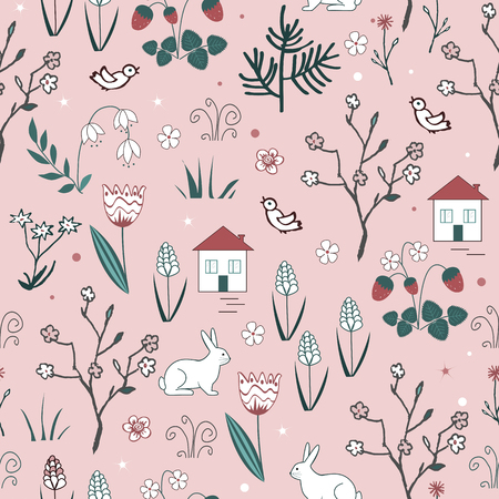 Cute spring vector seamless pattern with cartoon doodle flowers, blooming trees, hares, birds and houses. Textile background