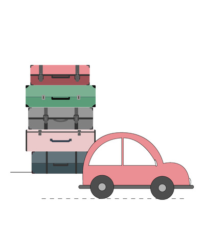 Vector illustration with car and cases. Travel and vacation concept Stock Illustratie