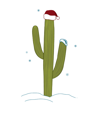 Saguaro Cactus wear santa hat for christmas. Christmas tree in tropical climate concept. Vector illustration