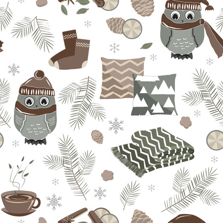 Vector seamless pattern with cute sport owls and fir tree branches and cones. Hygge Christmas background for textile prints, wrapping paper, and greeting cards