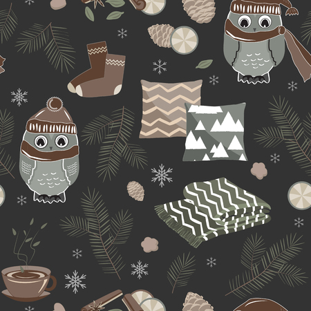 Vector seamless pattern with cute sport owls and fir tree branches and cones on the dark background. Hygge Christmas background for textile prints, wrapping paper, and greeting cards