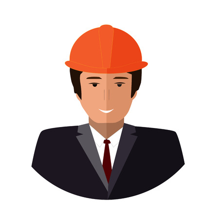 Construction worker face icon. Happy Engineer flat illustration