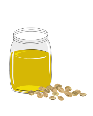 Hemp oil n a glass jar isolated on a white background. Vector illustrastion
