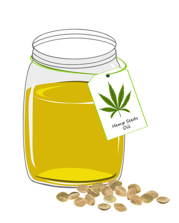 Hemp oil n a glass jar with label isolated on a white background. Vector illustrastion Stock Illustratie