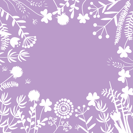 Stylish floral frame, white on purple. Card, template for the invitation. Delicate background of meadow flowers, leaves, twigs, herbs. Vector illustration, place for text