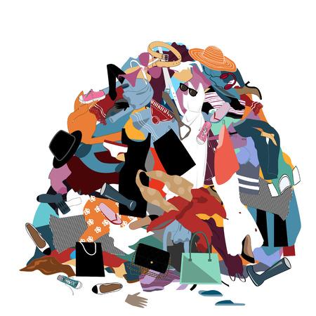 Illustration vectorielle avec un tas de linge sale en désordre. Gros tas de vêtements inutiles. Rien à porter concept, trucs pour la maison