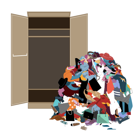 Pile of messy girl or lady clothes gotten out of closet. Untidy cluttered woman wardrobe. Flat vector illustration Vettoriali