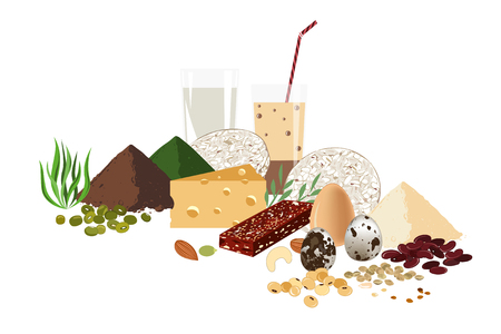 Vegetarian healthy protein food concept. Set of raw seeds, granola bar, beans, and milk productds. Vector background illustration