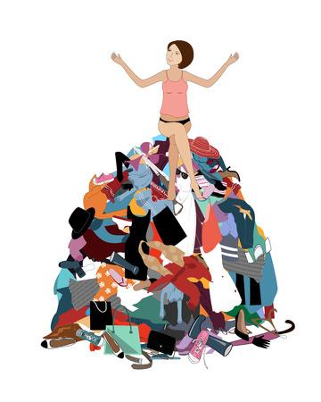 Niente da indossare concetto, giovane donna attraente stressata seduta in una pila di vestiti disordinati usciti dall'armadio. Illustrazione vettoriale piatta