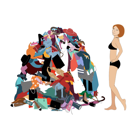 Nothing to wear concept, young attractive stressed woman looking at a pile of messy clothes gotten out of closet. Flat vector illustration