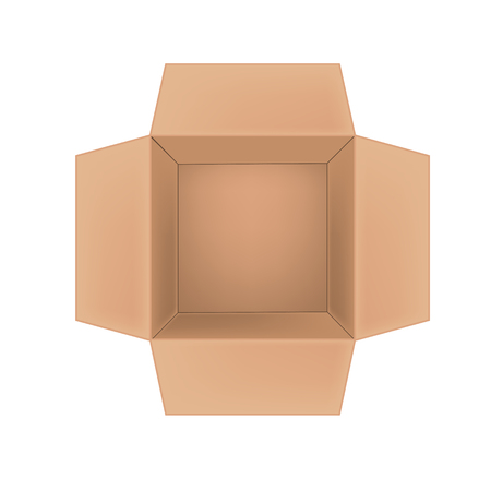 Open empty corrugated cardboard box on white background. Top view vector illustration
