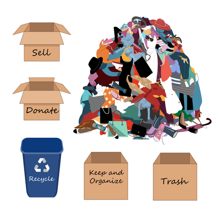 Vector Illustration with a Big Messy Pile of Useless, Old, Cheap, and Oumoded Cothes. Nothing to Wear, and Wardrobe Arrangement Concept. Sell, Donate, Keep, Recycle, and Trash boxes to organize clothing