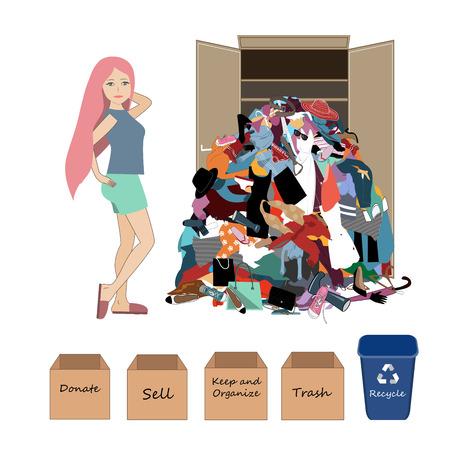 Illustration vectorielle avec une femme pensante et un gros tas de vêtements inutiles, anciens, bon marché et usés. Rien à porter et concept d'arrangement de garde-robe.