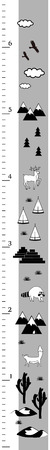 Kids height chart in minimalistic scandinavian style. Meter Wall or Height Meter, Inch Scale. Black and white Vector illustration