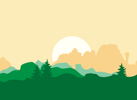 Vector Morning Background with Mountains, and Trees. Orange and Green Palette