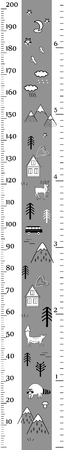 Kids vector height chart in minimalistic scandinavian style with cute animals, houses, and trees. Meter Wall or Height Meter, centimeter and Inch Scale. Black and white
