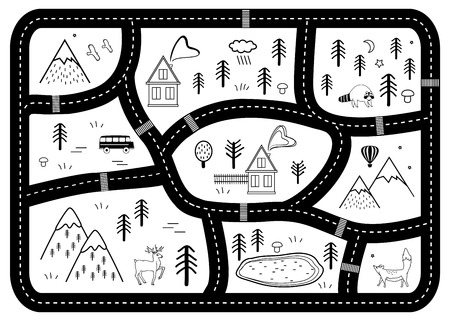 Black and White Kids Road Play Mat. Vector River, Mountains and Woods Adventure Map with Houses and Animals. Scandinavian Style Art Nursery Monochrome Print