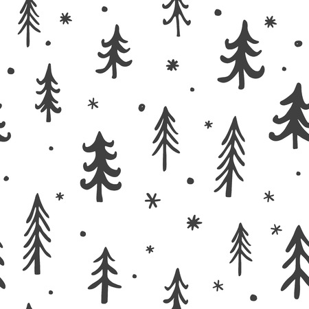 Seamless stylish pattern with cute hand drawn coniferous pine trees. Vector Outline illustration, Grey and White Ilustração
