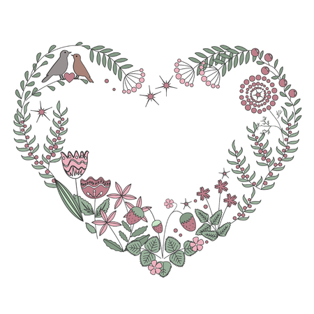 Floral heart frame with isolated flowers, herbs and leaves. Vector illustration, pastel palette. Ilustração