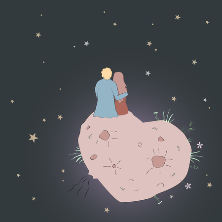 Vector Valentines Day card with girl and guy looking at the star.s Love couple in cosmos on the Heart shape planet. Romantic background Ilustração