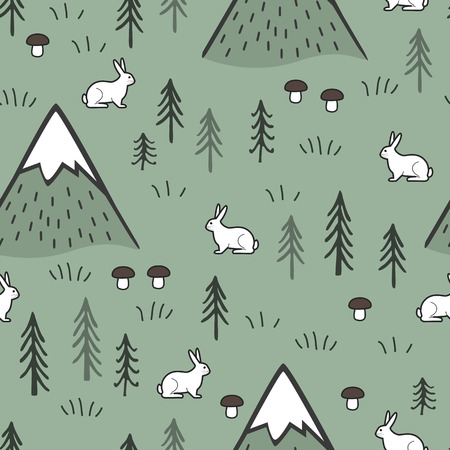 Rabbit and Mountains Seamless Pattern Background, Scandinavian Happy cute bunnies in the forest. Vector Kids nordic background